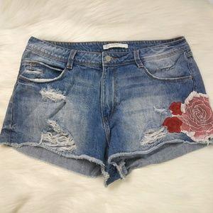ZARA DENIM High Waist Embroidered Distressed Short